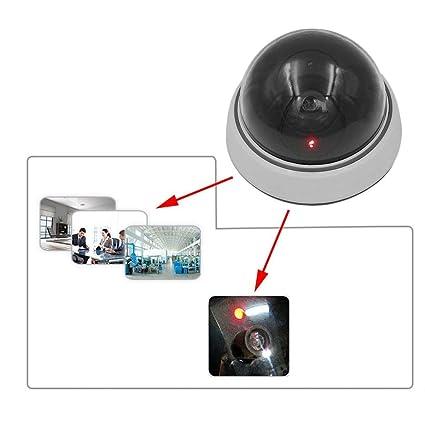 Ruying - Cámara de vigilancia de imitación para casa con luz LED, color blanco y