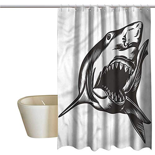 Denruny Shower Curtains with Valance for Bathroom Shark,Wild Fish with Open Mouth,W72 x L84,Shower Curtain for Kids