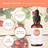 Teddie Organics Rosehip Seed Oil for Face, Hair and Skin 1oz, Pure Rose Hip Oil