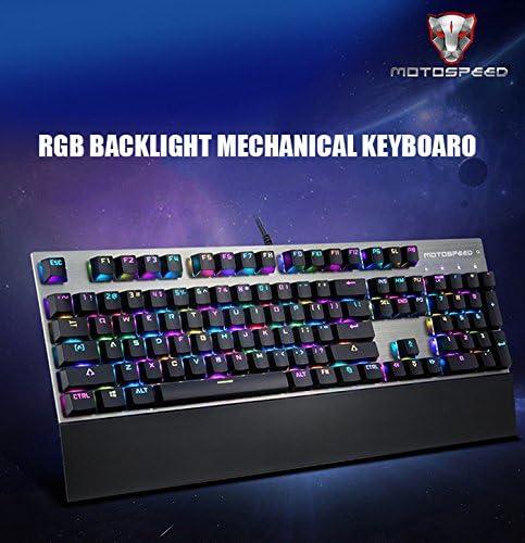 Motospeed CK108 USB Wired Game Keyboard Teclado para Juegos con Cable USB con 18 Modos de Luz de Fondo para Escritorio-Conmutador Azules(Negro)