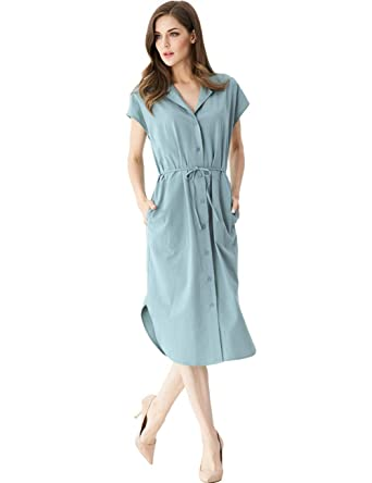 036aee97fd Melynnco Women's Collared Button Down Casual Shirt Midi Dress with Pockets  Light Blue Small