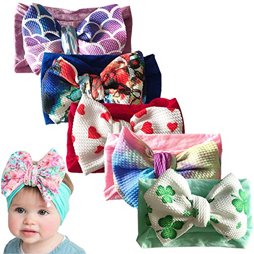 Baby Nylon Knotted Headbands Girls Head Wraps Infant Toddler Hairbands and Bows (Multicoloured -