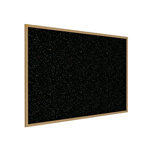 "Ghent 36"" x 46.5"" Wood Frame, Oak Finish Recycled Rubber Bulletin Board - Confetti (WTR34-CF)"