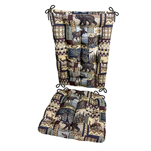 Peters Cabin Rocking Chair Cushions with Ties - Size Extra-Large - Latex Foam Fill Cushion - Woodlands Rustic Lodge & Lake House Décor (Bear, Moose, Deer, Pine Cones, Waterfowl) (Moose Wicker Head)