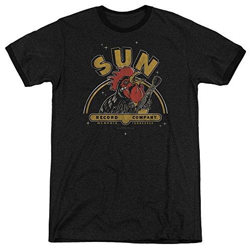 Sun Records Rocking Rooster Mens Adult Heather Ringer Shirt Black Md -