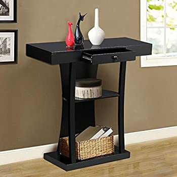 Topeakmart 3 Tier Black Console Table with Drawers & Collection Shelf Hallway Entryway Furniture