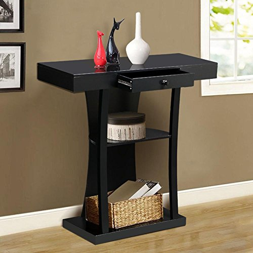Topeakmart 3 Tier Black Console Table with Drawers & Collection Shelf Hallway Entryway Furniture (Tv Stand Tall Narrow)
