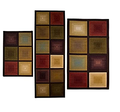3-piece Square/Rectangle Nylon Machine-Made Non Skid Backing Area Rug Set