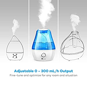 TaoTronics Cool Mist 120V US Plug Ultrasonic Air Humidifier with Mechanical Switch and Low Water Protection, 11.8 x 8.7-Inch 3.5L