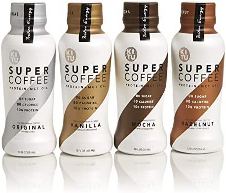 Kitu by Sunniva Super Coffee Sugar-Free Formula Variety Pack, 10g Protein, Keto Approved, Lactose Free, Soy Free, Gluten Free (3 Each of Vanilla, Mocha, Hazelnut, and Original)
