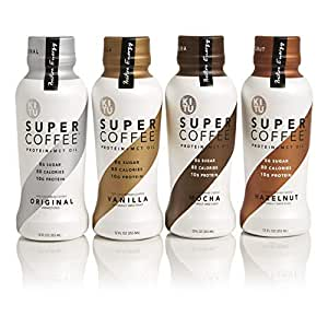 Kitu by Sunniva Super Coffee 4 Variety Pack Sugar-Free Formula, 10g Protein, Lactose Free, Soy Free, Gluten Free (1 each of Vanilla Bean, Mocha, Hazelnut, and Creamy Black)