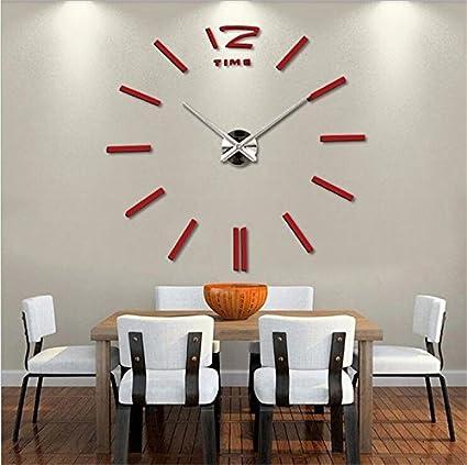 3D DIY DIY Espejo acrílico reloj de cuarzo de gran tamaño Relojes de pared Reloj adhesivo