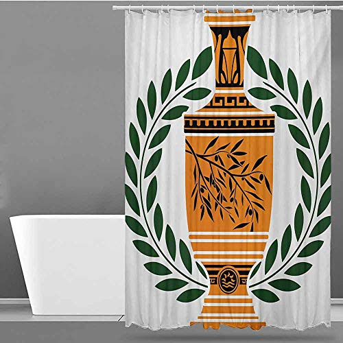 Tim1Beve Polyester Shower Curtain,Toga Party Old Antique Greek Vase with Olive Branch Motif and Laurel Wreath,for Master, Kid's, Guest Bathroom,W72x84L,Hunter Green Orange Black