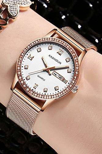 Generic [Card_poem,_genuine-_Steel_with_dual_calendar_ watch es_ women fashion _belts,_ watch es_water_resistant_ quartz watch
