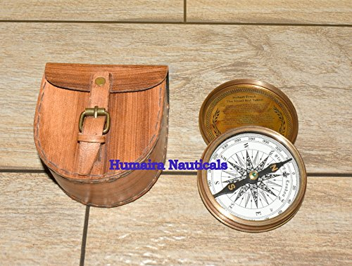 アンティーク風詩コンパスレザーケース真鍮ホームギフトヴィンテージFrostトップ品質 B076XNDN59