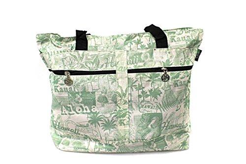 Borsa a tracolla doppia della chiusura lampo della stampa hawaiana in Vintage Hula Ragazza in Verde Bianco