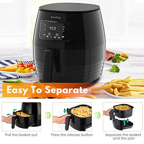 Inofia Air Fryer 5 Liter52 Quart Electric Hot Air Fryer Oven Oilless Cooker 6in1 LED Digital Touchscreen  Recipe Books NonStick Basket with Automatic Timer amp Temperature Control Great for French Fries amp Chips Chickennbsp