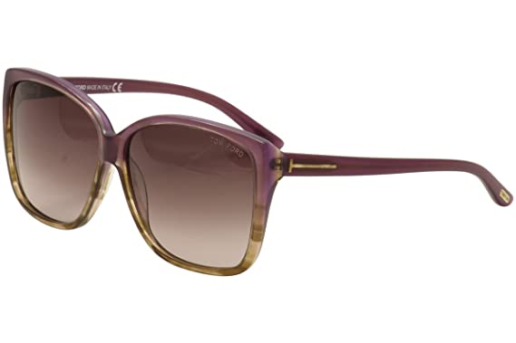 49b1bea4a9d37 Image Unavailable. Image not available for. Color  Tom Ford 0228 83z Purple  Havana Lydia Wayfarer Sunglasses