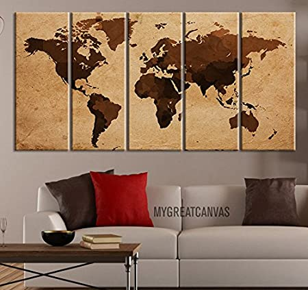 Extra large wall art canvas world map vintage brown world map on extra large wall art canvas world map vintage brown world map on cream background 5 gumiabroncs Images