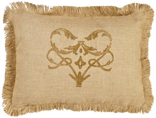 Zentique Single Burlap Pillow with Jute Brush Fringe, 14-Inch by 22-Inch, Brown/Damask