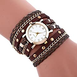 COOKI Womens Bracelet Watches Clearance Ladies Watches Leather Female Watches on Sale Cheap Watches-Q8 (Brown)