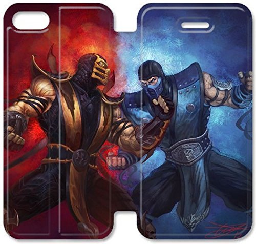 Klreng Walatina® Coque iPhone 6 6s Plus de 5,5 pouces Coque cuir Mortal Kombat Scorpion Sub Zero punch Ice incendie J3Y2Zg