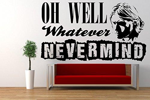 Nirvana, Nevermind Song Lyrics Quote, Kurt Cobain, Vinyl Wall Art Sticker. Mural, Decal. Home, Wall Decor. Living Room, Bedroom, - Cobain Wardrobe Kurt