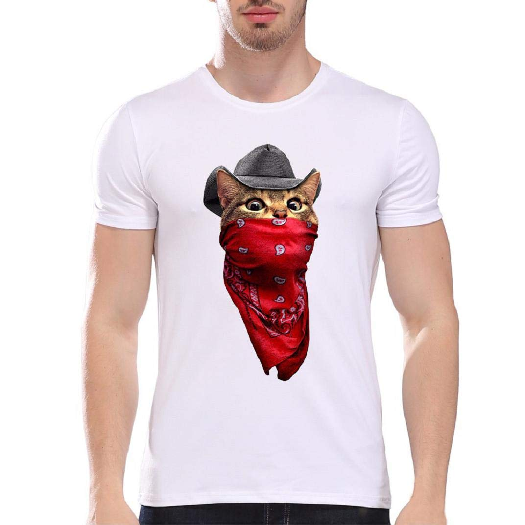 MISYAA Cat Cartoon T Shirts for Men, Cowboy White Tee Shirt Short Sleeve Sweatshirt Muscle Tank Top Pals Gifts Mens Tops