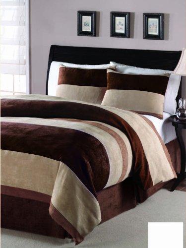 JBFF 4 Piece, Luxury Microsuede Goose Down Alternative Comforter Set, Chocolate/Camel, Queen - Microsuede Comforter