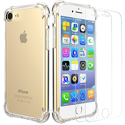 iPhone 7 [ 2x Panzerglas und Hülle Case ], Bukm Gehärtetem Glas Displayschutzfolie Schutzglas Displayschutz Panzerglas folie, Schutzhülle Cover Transparente flexible TPU Silikon Handy Crystal