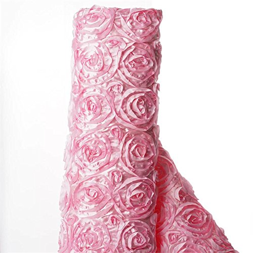 - BalsaCircle 54-Inch x 4 Yards Pink Satin Raised Rosettes Fabric by The Bolt - Sewing Craft Bridal Supplies