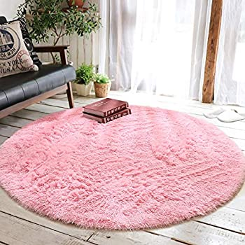 Junovo Round Fluffy Soft Area Rugs for Kids Girls Room Princess Castle Plush Shaggy Carpet Baby Room Decor, Diameter 4ft Pink