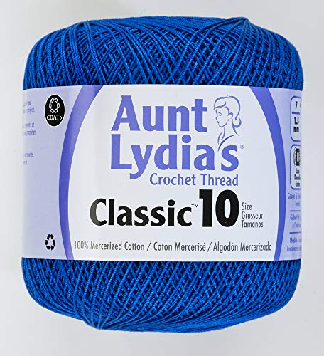 Coats Crochet Aunt Lydia's Crochet, Cotton Classic Size 10, Dark Royal (154-487) Coats & Clarks Yarn
