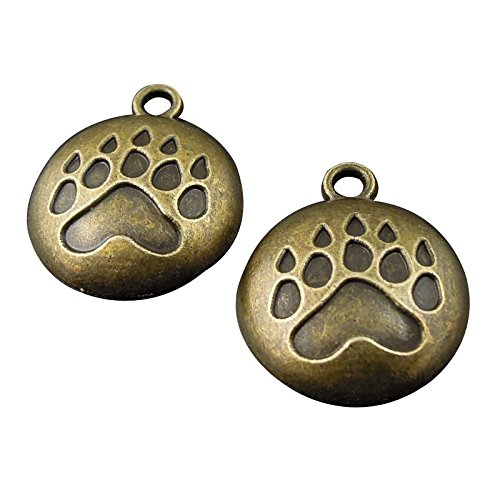 - JulieWang 80PCS Round Bronze Cat Bear Paw Print Charms Pendants for Jewelry Making DIY 17X17MM