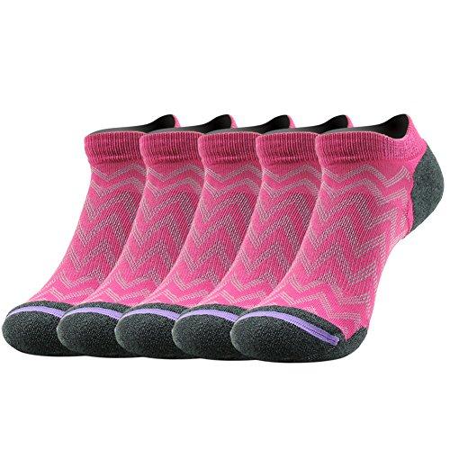 Gmark Girl's Novelty Dry Running Bamboo Fiber Socks For Runners 5 Pairs Rose-Red