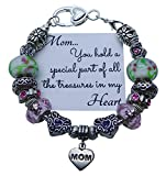 Gift For Mom Bracelet Charms and Pink Beads 8 Inch Silver Chain IN GIFT BOX