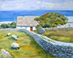Original watercolor Ireland thatched cottage landscape painting by Janet Zeh