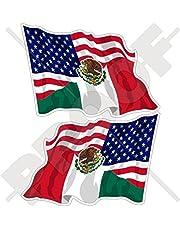 StickersWorld USA United States of America & Mexico, Bandera Estadounidense Mexicana voladora de 75 mm, Pegatinas de Parachoques de Vinilo, 2 Unidades (Izquierda y Derecha)