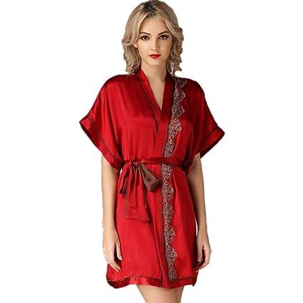 DMMSS Ladies Lace Sleeping Robe Silk Bathrobes Silk Home Service Deep V Pajamas , L ,