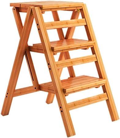 Escalera De Taburete Plegable De 3 Peldaños, Escalera De Madera para El Hogar Tijera Escalonada Taburete Alto para Niños Y Adultos, Herramienta De Jardín En Casa,Woodcolor: Amazon.es: Hogar