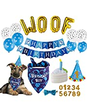 TCBOYING Dog Birthday Party Supplies, Dog Birthday Bandana Toy Cake Boy Hat Scarfs Flag Balloon with Cute Doggie Birthday Party Supplies Decorations(21-Piece Set)