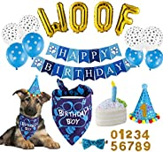 TCBOYING Dog Birthday Party Supplies, Dog Birthday Bandana Toy Cake Boy Hat Scarfs Flag Balloon with Cute Dogg