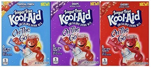 Aid Single - Sugar Free Kool-Aid - 3 Pack Variety (Singles to Go) 1 Cherry, 1 Grape, 1 Tropical Punch - 6 Packets per box = 18 Packets total
