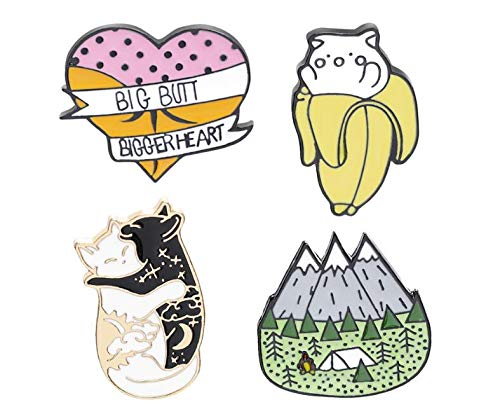 Black and White cat Licking Brooch Forest Banana cat pin (3) by Angelstore Brooch (Image #2)
