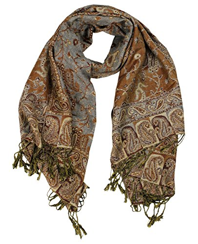 Peach Couture Elegant Double Layer Reversible Paisley Pashmina Shawl Wrap Wheat