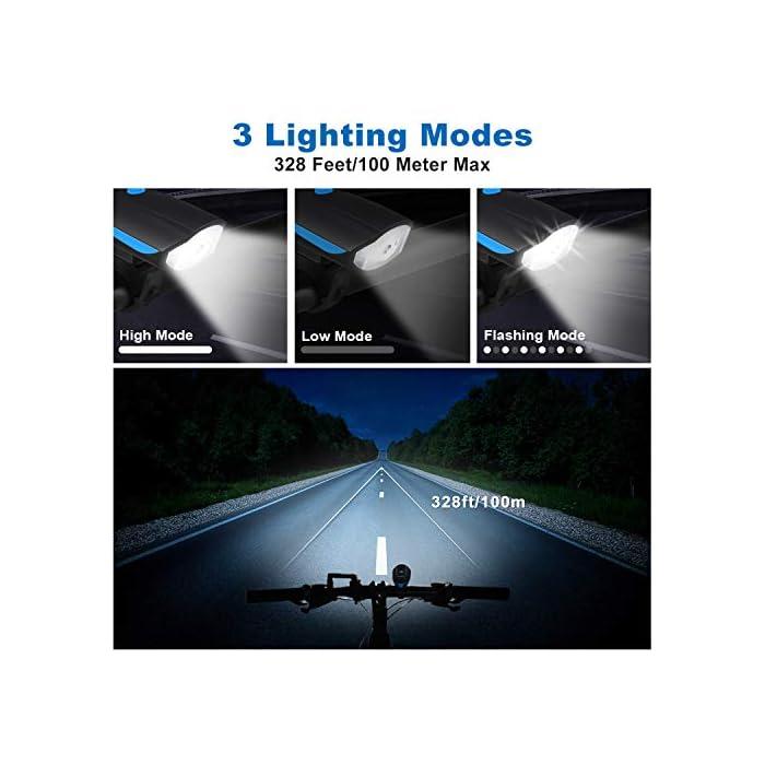51ky5CoBdSL ? Súper Brillantes y Múltiples Modos - El luces para bicicleta te ofrece una conducción nocturna segura (luz delantera de 300 lúmenes y luz trasera de 100 lúmenes); La luz delantera tiene 3 modos (Alto - Bajo – Flash - Off); Luz trasera con 5 modos (Rojo - Rojo Intermitente - Blanco - Blanco Intermitente - Rojo / Blanco Intermitente - OFF) ? Impermeable IP65 y Libre Campana de Bici - La Luz bicicleta es adecuada para todo tipo de clima, ya sea niebla o lluvia, las luces de bicicleta le proporcionarán luces de visibilidad para mayor seguridad y protección en condiciones meteorológicas adversas. La luz de bicicleta viene con un cuerno libre - 120 dB hace que su viaje sea más seguro. ? Recargable USB y Carga Inteligente - la batería de litio del interior (1200 mAH) se puede cargar por completo rápidamente en 2 horas, simplemente con un cargador USB, una PC o cualquier puerto USB. El sistema de apagado automático y completamente cargado garantiza la seguridad y una mayor duración de la batería.