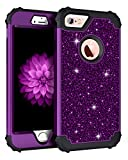 iPhone 6s Plus Case, iPhone 6 Plus Case, Pandawell Luxury Glitter Sparkle Bling Heavy Duty Hybrid Sturdy Armor Defender High Impact Shockproof Cover Case for iPhone 6s Plus/6 Plus, Shiny Purple/Black