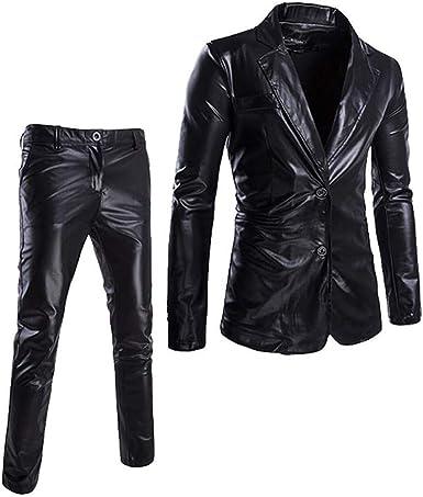 Greetuny 2pcs Casual Trajes Hombre Vestir Modernos Pavon Slim Fit Pantalones De Traje Brillante Chaquetas Fiesta M Negro Amazon Es Ropa Y Accesorios