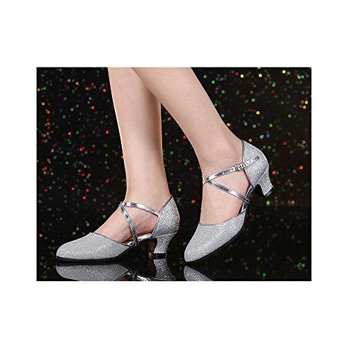 OCHENTA Femme Chaussure de Danse Hauteur de Talon 3.5cm 5.5cm au Choix Semelle Pour Intérieur Ou Extérieur Danse Latine Argent Extérieur 3.5CM