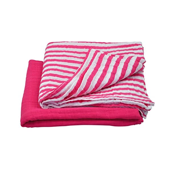 green sprouts Muslin Swaddle Blankets made from Organic Cotton | Generously sized for easy swaddling | Super soft & softer with every wash, Hot Pink Set